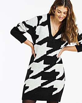 Houndstooth Cosy V Neck Sweater Dress