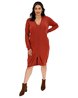 Henna Rib Detail Midi Dress