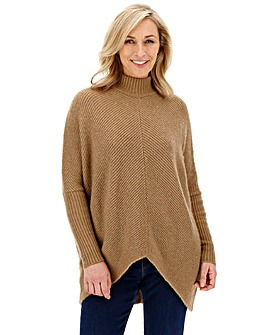 Cosy Camel High Neck Ribbed Jumper