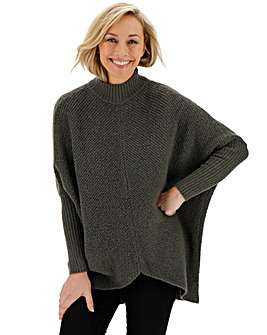 Cosy Charcoal High Neck Ribbed Jumper