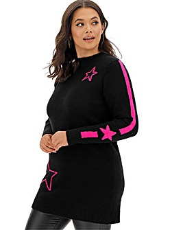 Black/Pink Cosy Super Soft Star Tunic