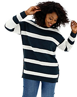Navy Stripe Button Side Tunic