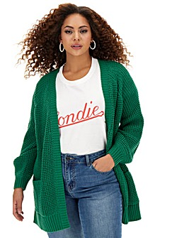 Bottle Green Waffle Stitch Cardigan
