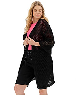 Black Pointelle Cardigan