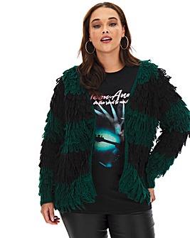 Black/Green Stripe Loopy Cardigan