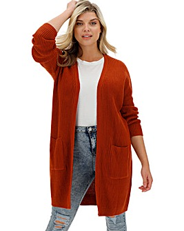 Orange Longline Fisherman Rib Cardigan