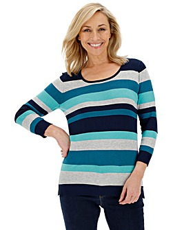 Aqua Stripe Crew Neck Jumper