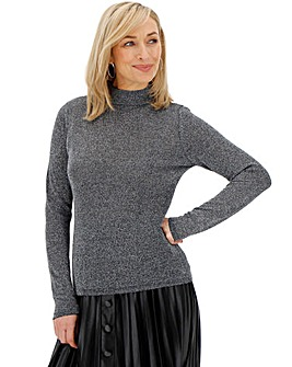 Black/Silver Funnel Neck Jumper