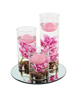 Set 3 Floating Candles Pink