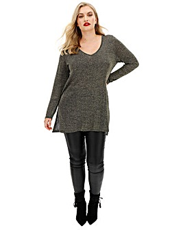 Black/Gold Fine Knit Side Split Tunic