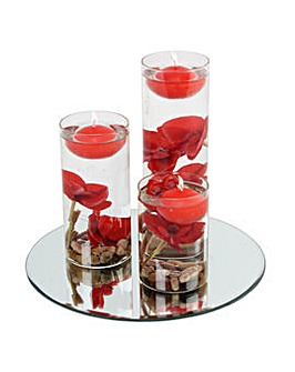 Set 3 Floating Candles Red