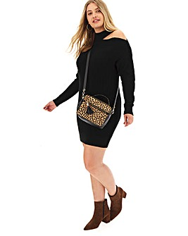 Black Cut Out Shoulder Jumper Dress