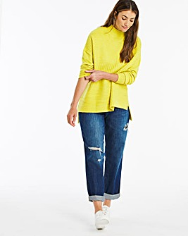 Lime High Neck Mixed Rib Jumper