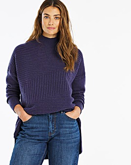 Indigo High Neck Mixed Rib Jumper