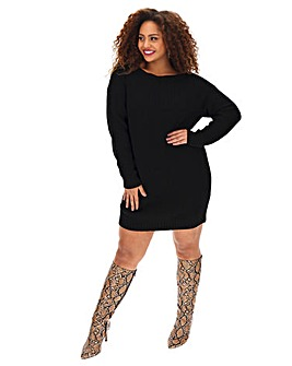 Black Slash Neck Jumper Dress