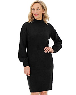 Cosy Black Balloon Sleeve Knitted Dress
