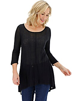 Black Dip Back Knitted Swing Tunic