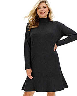 Gunmetal Roll Neck Knitted Peplum Dress