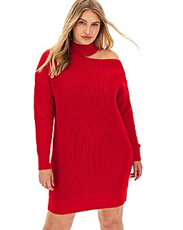 Bright Red Cut Out Shoulder Jumper Dress