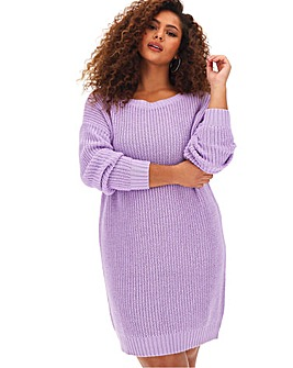 Lilac Slash Neck Neck Jumper Dress