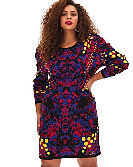 Multi Print Knitted Dress