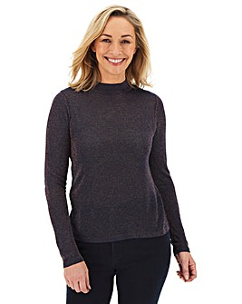 Navy/Copper Funnel Neck Jumper