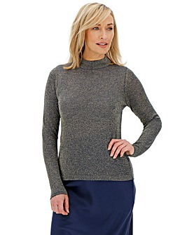 Navy/Gold Funnel Neck Jumper