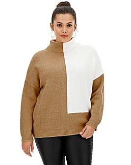 Cosy Ivory/Camel High Neck Jumper