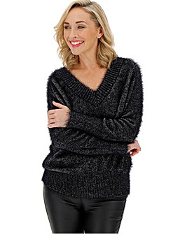 Black/Silver Metallic Feather Jumper