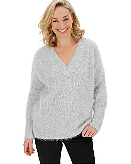 Ecru/Silver Metallic Feather Jumper