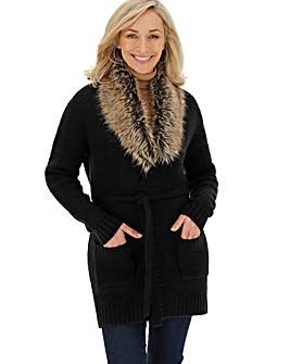 Black Fur Trim Belted Cardigan
