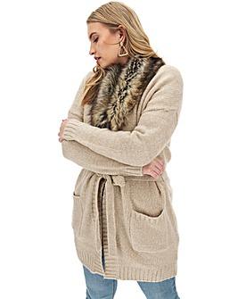 Oatmeal Fur Trim Belted Cardigan