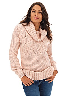 Blush Cowl Neck Cable Tunic