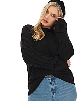 Black Turn Back Cuff Jumper