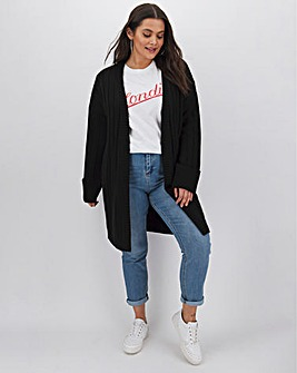 Black Turn Back Cuff Cardigan