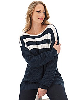 Navy/Ivory Striped Ribbed Cable Jumper