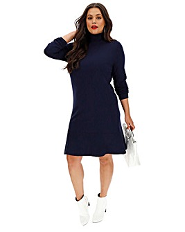 Ink Roll Neck Knitted Peplum Dress