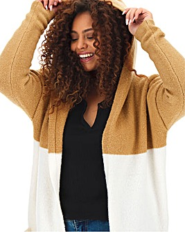 Cosy Longline Stripe Hooded Cardigan