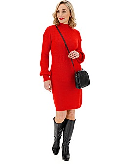 Cosy Red Balloon Sleeve Midi Dress