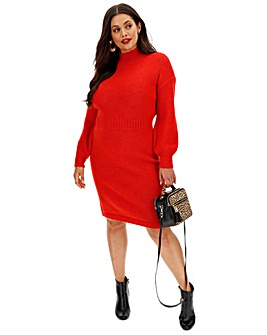 Cosy Red Balloon Sleeve Knitted Dress