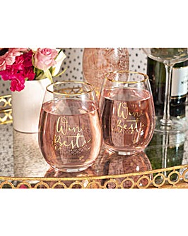 Ava & I Wine Set of 2 Stemless Glasses