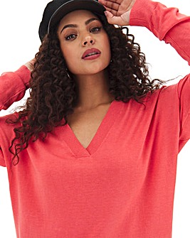 Coral Slouchy V Neck Tunic