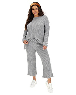 Grey Marl Ribbed Culottes Co-ord