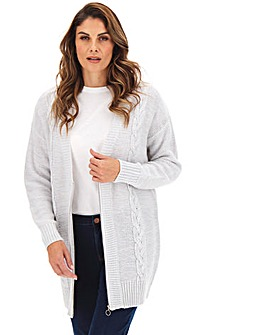 Longline Cable Zip Up Cardigan