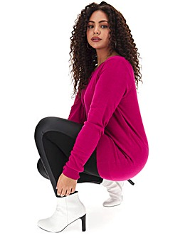 Raspberry Crew Neck Cardigan