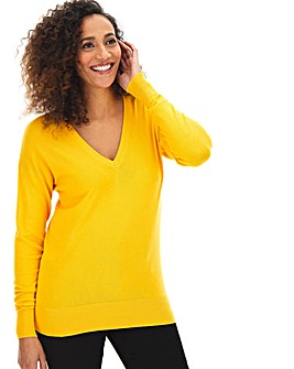 Yellow V Neck Jumper