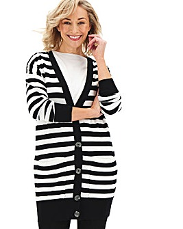 Black Stripe Boyfriend Cardigan