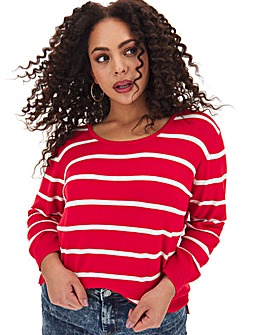 Red Striped Crew Neck Jumper