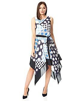 Roman Spot Hanky Hem Midi Dress