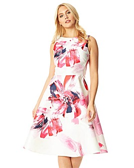 Roman Floral Printed Jacquard Midi Dress